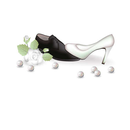 struggling: Wedding shoes and a rose  illustration
