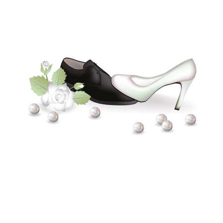 Zapatos de novia y una ilustraci�n de rosas