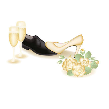 dominate: Wedding shoes and champagne   illustration Illustration