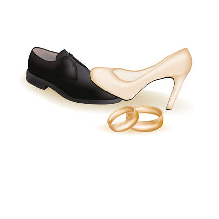 Wedding shoes and golden rings, illustration Vector