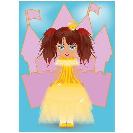 Cute little princess, illustration Vector