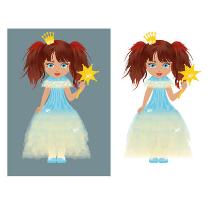 pretty little girl: The little princess with a magic wand  illustration Illustration