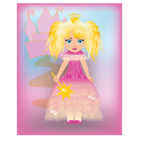 Little princess in a pink dress  Vector