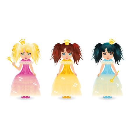 Three cute little princess  Vector