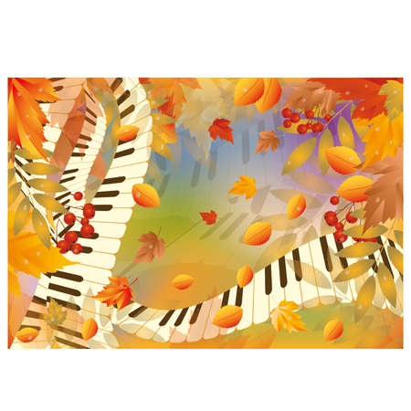 Musical autumn card  Vector