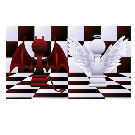devil horns:  Two pawns   Illustration