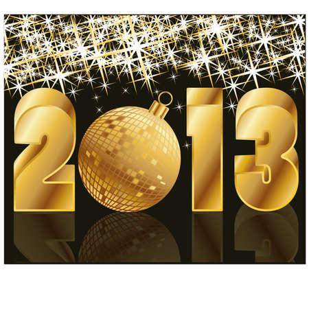 2013 Golden Year with Christmas Ball , vector illustration Illustration