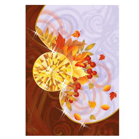Herfst kaart met topaas, vector illustratie Stock Illustratie