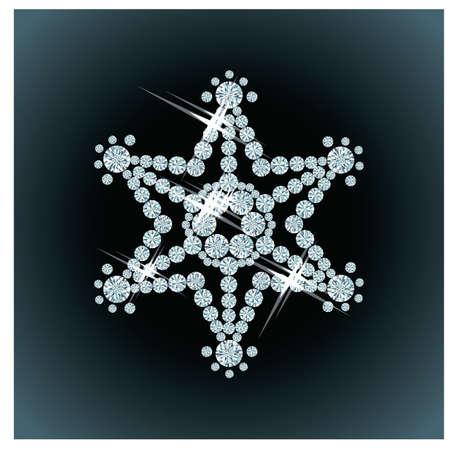 Diamond sneeuwvlok, vector illustration
