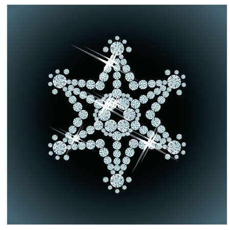Diamond snowflake , vector illustration Stock Vector - 14916518