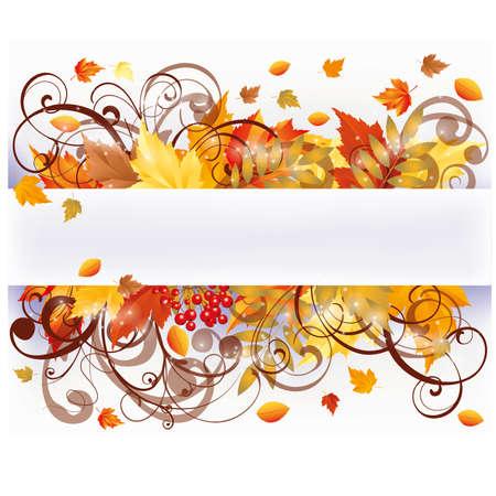 eberesche: Herbst Jahreszeiten-Karte, Vektor-Illustration Illustration