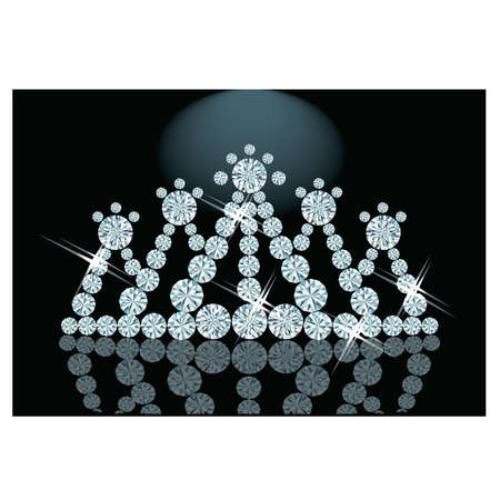 miss: Diamond Diadem feminine, vector illustration
