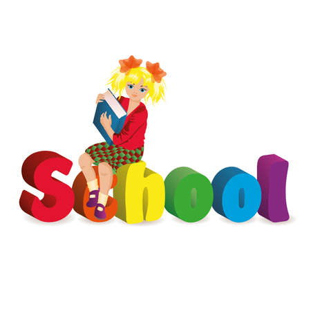 pedagogy: Back to school  Schoolgirl with books  vector illustration