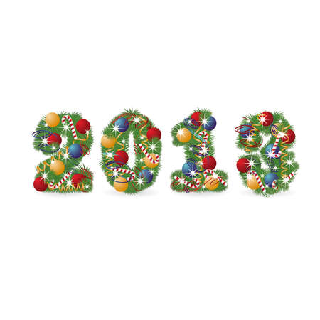 2013 Tree font with Christmas ornaments , vector Stock Vector - 14916525