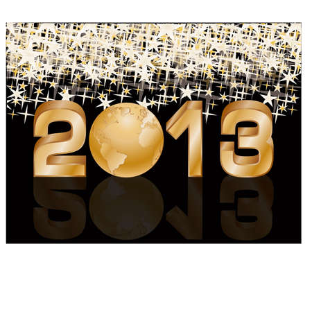 Golden New 2013 year card with globe, vector illustration  Stock Vector - 14916526
