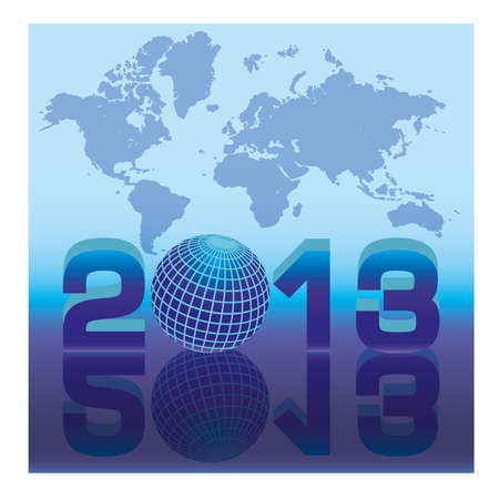 New 2013 year card with globe  vector illustration Vector