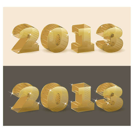 New 2013 year golden transparent  vector illustration Stock Vector - 14916529