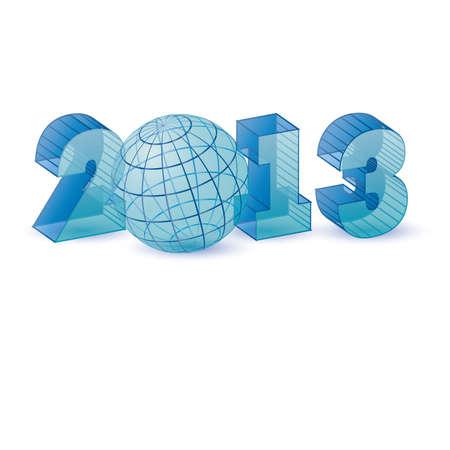 Blue new 2013 year transparent, vector illustration Vector