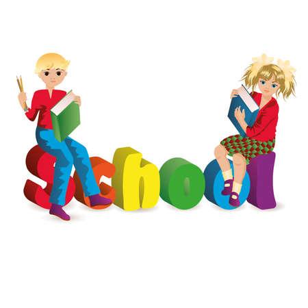 teenagers learning: Back to school  Schoolgirl and schoolboy  vector illustration