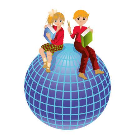 calendario escolar: Volver a la escuela y la ilustraci�n Schoolkids mundo