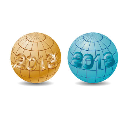 New 2013 year on the globe illustration Stock Vector - 14972753