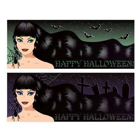 Two halloween banners with sexy witch,  illustration Stock Vector - 14991601