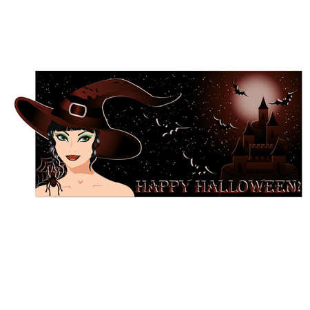 Happy halloween banner with sexy witch and castle, vector illustration Stock Vector - 14991581