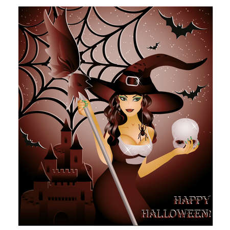 Happy halloween card, sexy witch and skull ,  illustration Vector