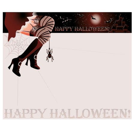 Happy halloween magic card,  illustration Vector