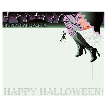 sexy skirt: Happy halloween magic background,  illustration