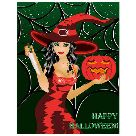 night dress: Happy halloween  Beautiful witch with a knife and a pumpkin  vector illustration