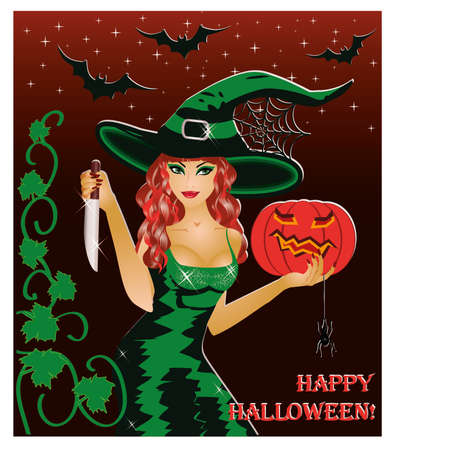 Happy halloween card  Redhead witch with a knife and a pumpkin   illustration Vector