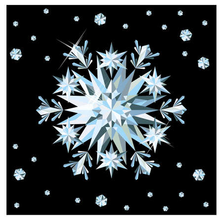 Diamond snowflake card, illustration Vector