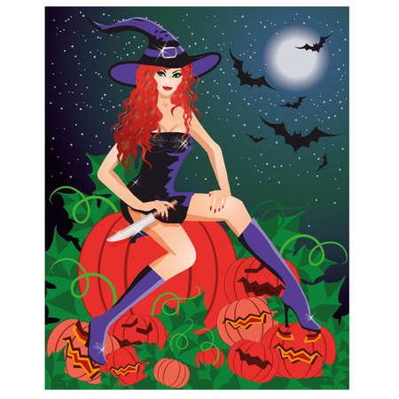brujas sexis: Pelirroja bruja con un cuchillo sentado en una calabaza, ilustración Vectores