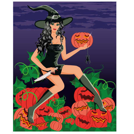 Sexy witch with a knife and a pumpkin,vector illustration Vector