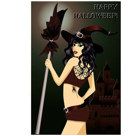 Happy halloween  Sexy young witch with a broom  Stock Vector - 15031360