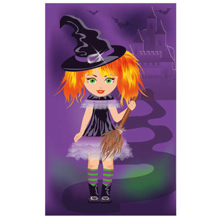 Halloween card with young witch  vector illustration  Stock Vector - 15090119