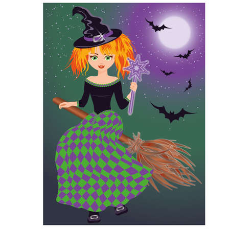 A young witch flying on a broomstick, vector illustration Vector