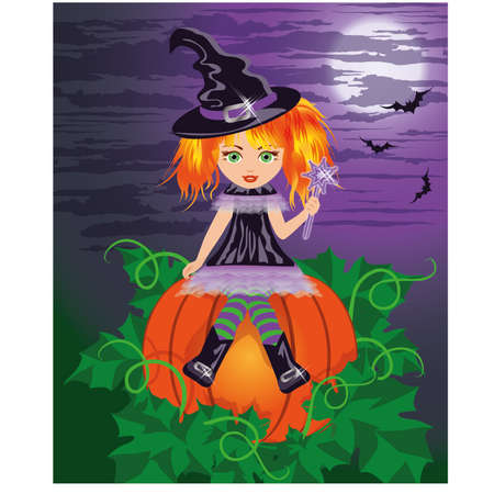 bewitched: Red-haired young witch with a magic wand , vector illustration