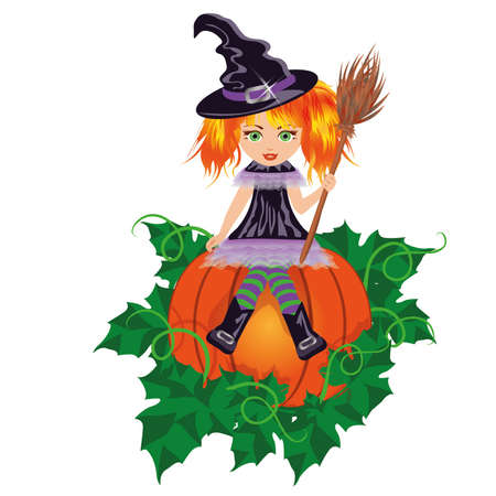 bewitched: Girl witch with a broom  vector illustration