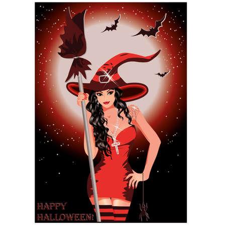 Feliz bruja de Halloween sexy con escoba, ilustraci�n vectorial