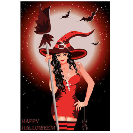 Happy Halloween  Sexy witch with broom, vector illustration