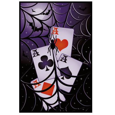 Poker halloween banner. vector illustration Vector