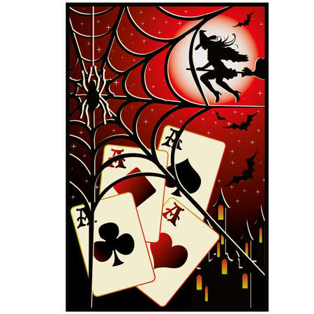 bewitched: Halloween poker card Illustration