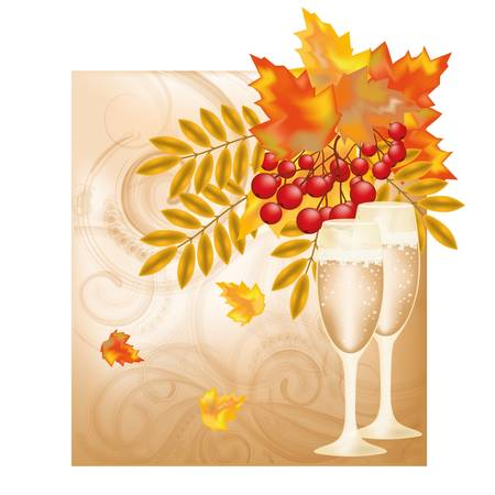 Autumn wedding card Vector
