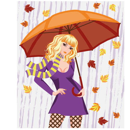 rainy days: Autumn girl with umbrella  vector illustration