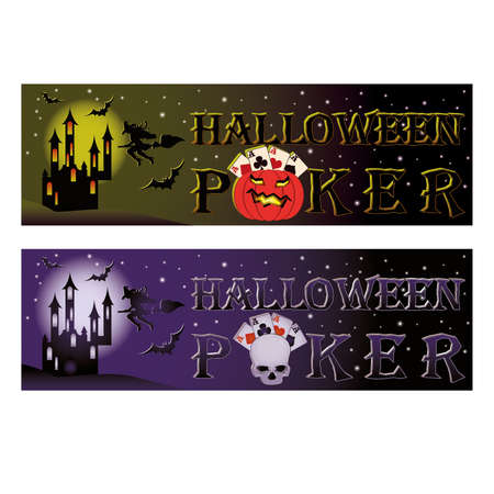Two halloween poker banners Vector