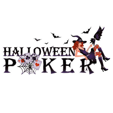 bewitched: Halloween poker banner with spiderweb, vector illustration