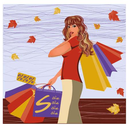 woman walk: Autumn shopping girl, vector illustration