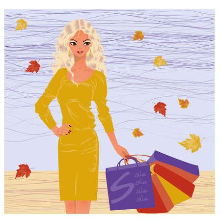purchasing: Autumn shopping blonde girl  vector illustration
